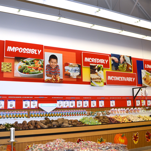 Mural installed above produce section