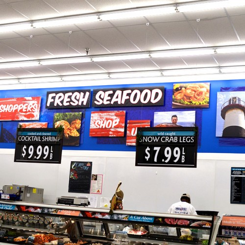 Mural installed above seafood section