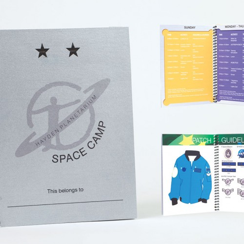 Student notebook and inside spreads, which includes the daily schedule, notebook paper, and patch guidelines