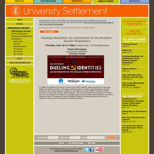 Event advertisement posted on University Settlement