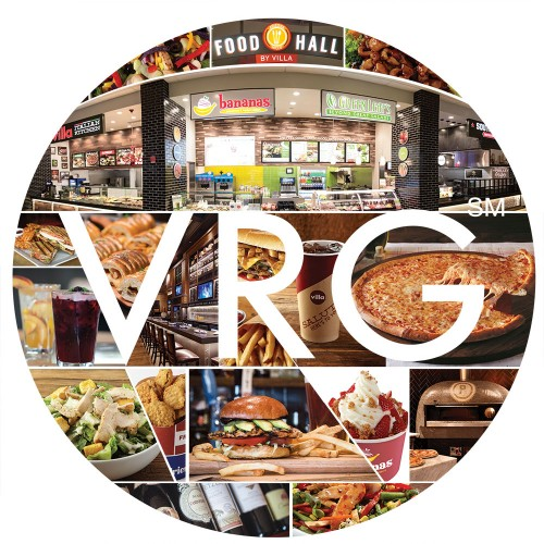 Selected photos from VRG's collection that represented their brand, and arranged within the shape of the VRG logo.