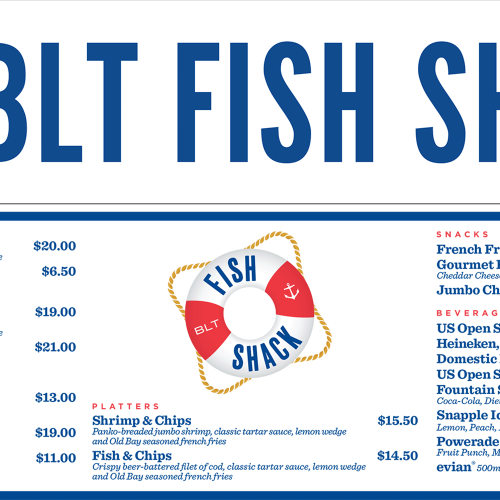 BLT Fish Shack header and menu board for Food Village