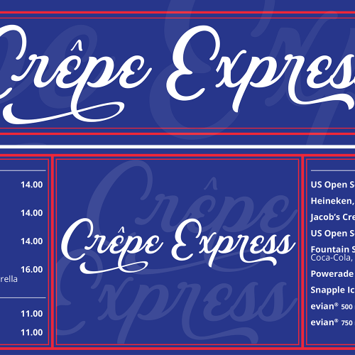 Crepe Express header and menu board for Food Village