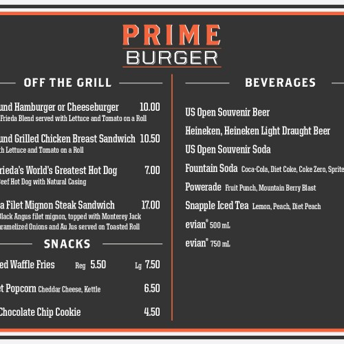 Prime Burger menu board for Grand Stand Stadium